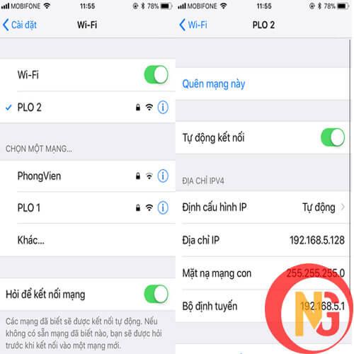 Đăng nhập lại Wifi cho điện thoại Iphone