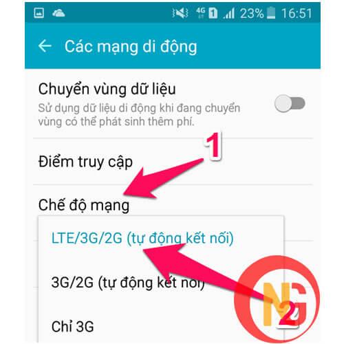 Chuyển từ chế độ 3G-4G sang 2G