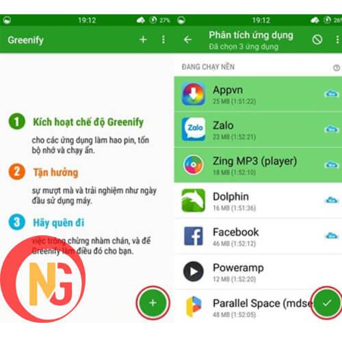 Tắt ứng dụng chạy nền sử dụng app Greenify