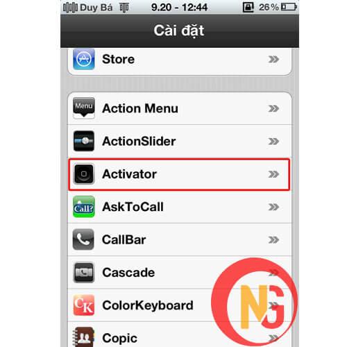 Mở màn hình bằng Activator